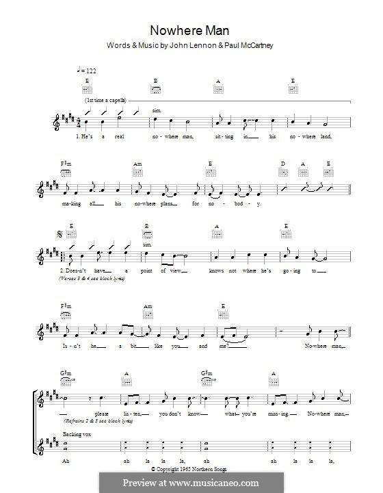 Nowhere Man (The Beatles): Мелодия, текст и аккорды by John Lennon, Paul McCartney