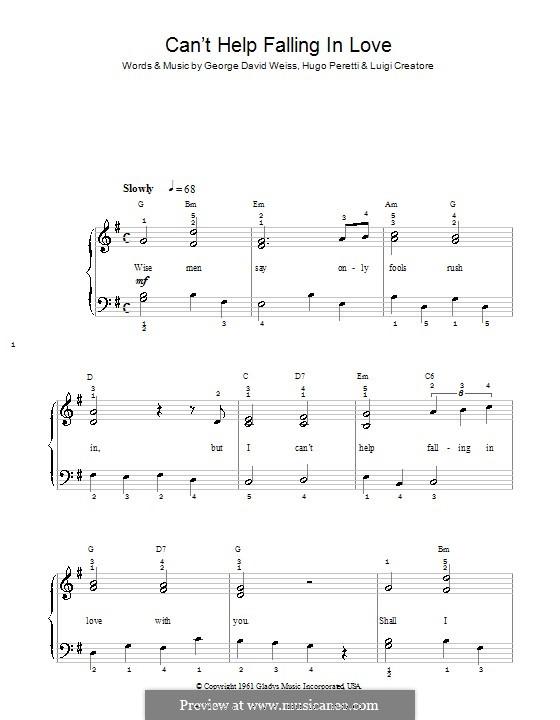 Can't Help Falling in Love: Для фортепиано (легкий уровень) by George David Weiss, Hugo Peretti, Luigi Creatore