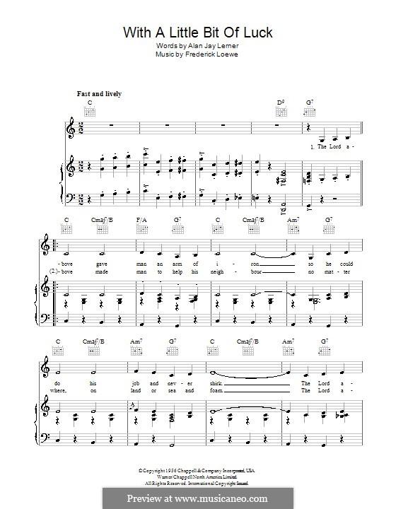 With a Little Bit of Luck (Stanley Holloway): Для голоса и фортепиано (или гитары) by Frederick Loewe