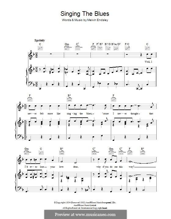Singing the Blues: Для голоса и фортепиано или гитары (Tommy Steele) by Melvin Endsley