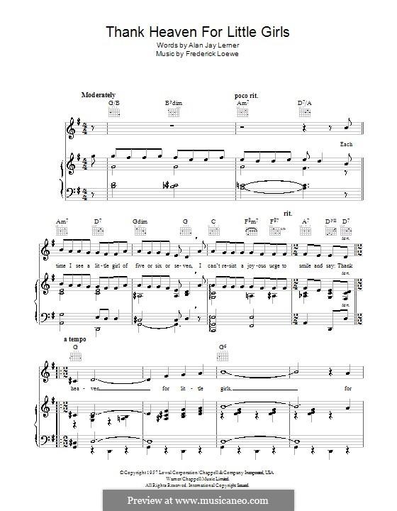 Thank Heaven for Little Girls (Maurice Chevalier): Для голоса и фортепиано (или гитары) by Frederick Loewe
