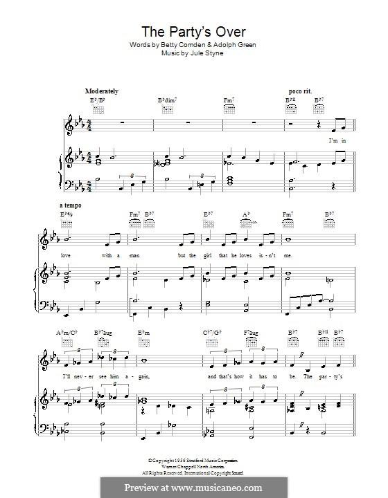 The Party's Over: Для голоса и фортепиано (или гитары) by Jule Styne