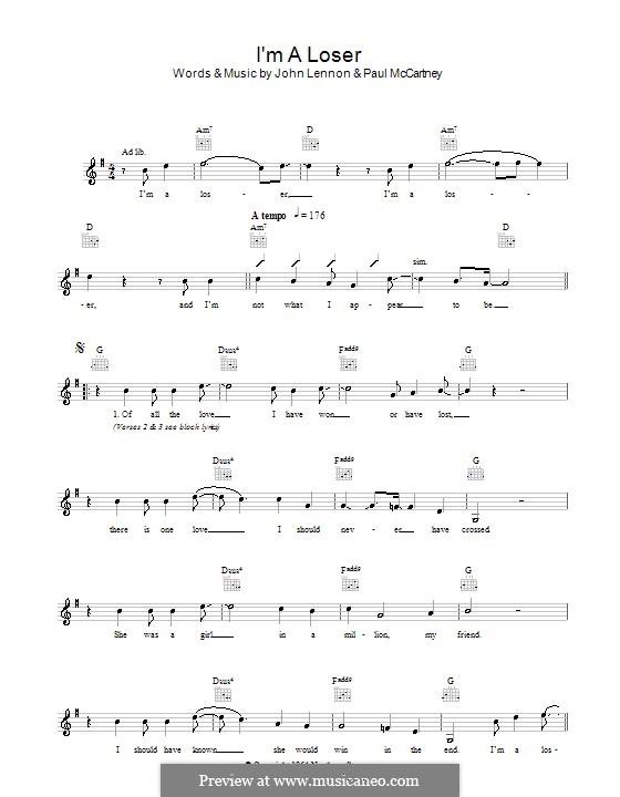 I'm a Loser (The Beatles): Мелодия, текст и аккорды by John Lennon, Paul McCartney