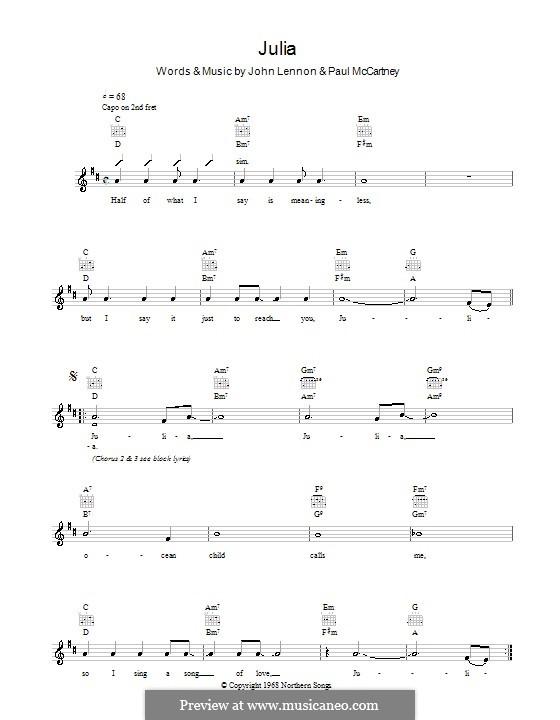 Julia (The Beatles): Мелодия, текст и аккорды by John Lennon, Paul McCartney
