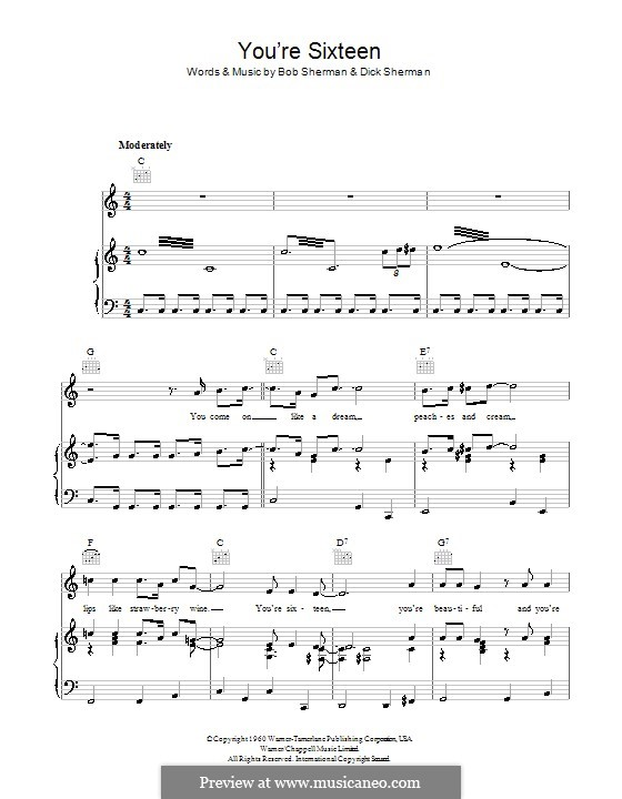 You're Sixteen: Для голоса и фортепиано (или гитары) by Bob Sherman, Dick Sherman