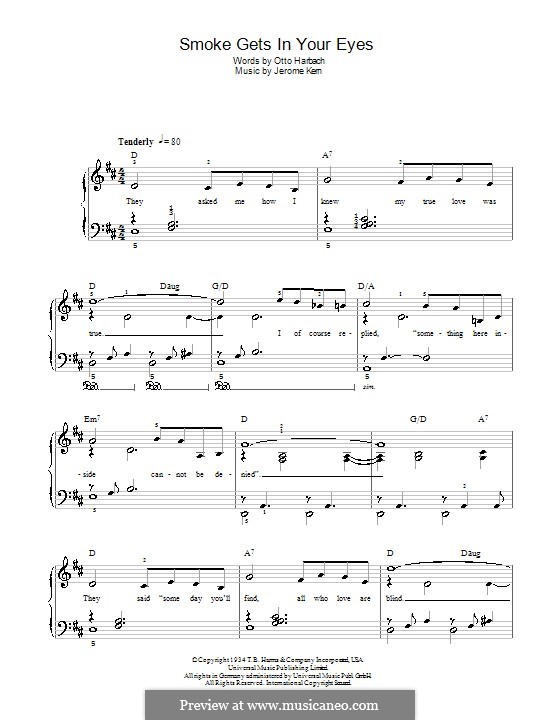Smoke Gets in Your Eyes (from 'Roberta'): For easy piano (The Platters) by Джером Керн