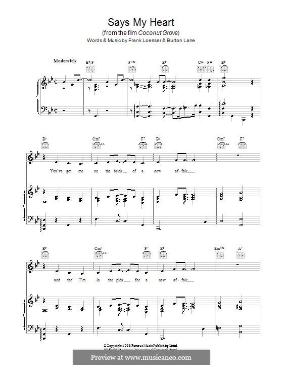 Says My Heart (Billie Holiday): Для голоса и фортепиано (или гитары) by Burton Lane