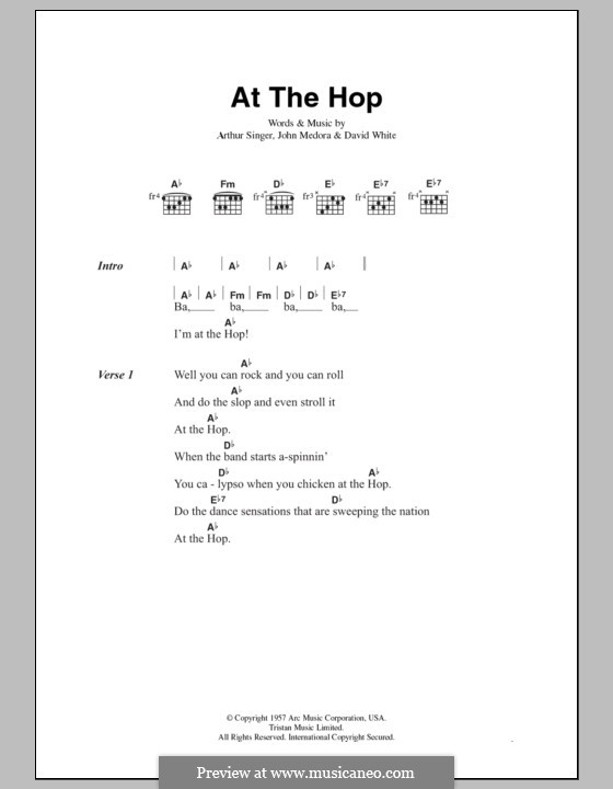 At the Hop (Danny & The Juniors): Текст, аккорды by Arthur Singer, David White, John Medora
