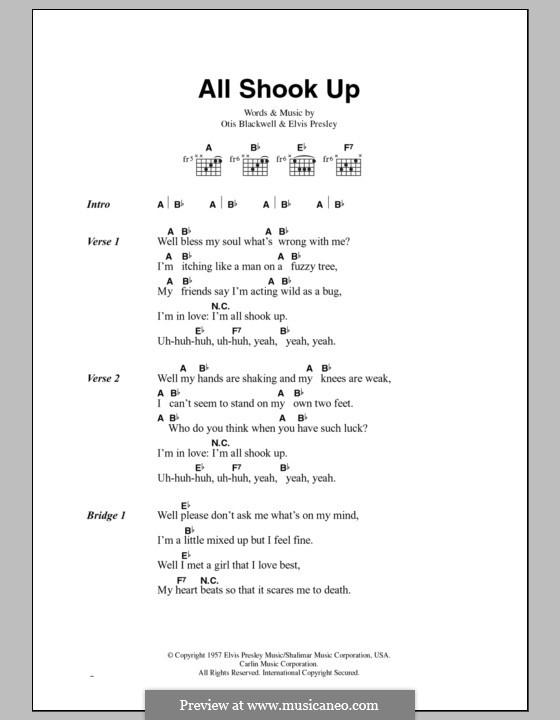 All Shook Up: Текст, аккорды by Elvis Presley, Otis Blackwell