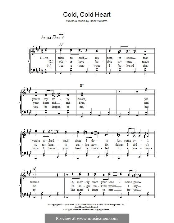 Cold, Cold Heart: Для фортепиано (легкий уровень) by Hank Williams