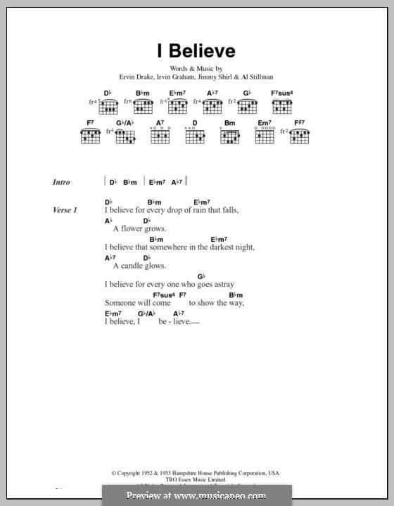 I Believe (Frankie Laine): Текст, аккорды by Ervin Drake, Irvin Graham, Jimmy Shirl