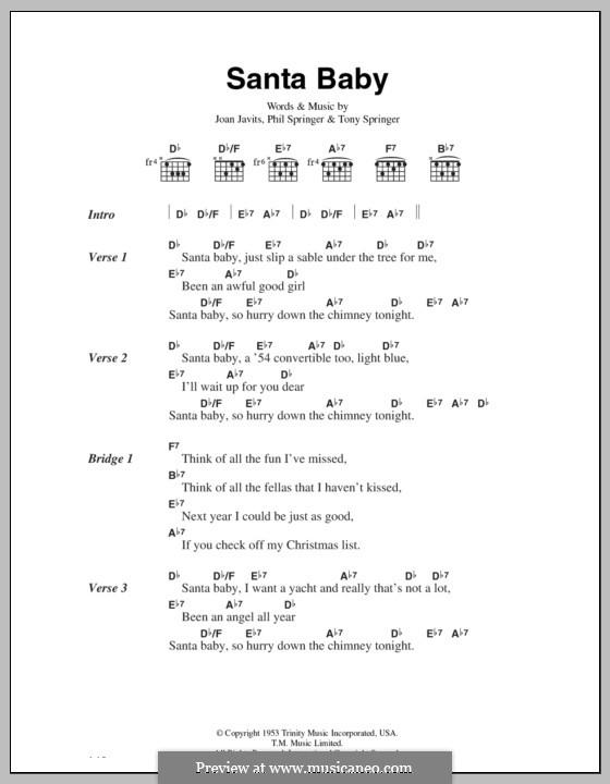 Santa Baby (Eartha Kitt): Текст, аккорды by Joan Javits, Philip Springer, Tony Springer