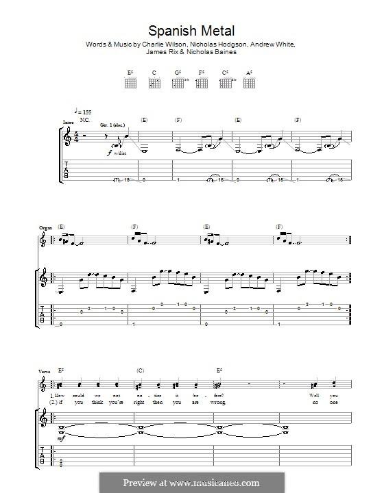 Spanish Metal (Kaiser Chiefs): Для гитары с табулатурой by Andrew White, James Rix, Nicholas Baines, Nicholas Hodgson, Charles Wilson