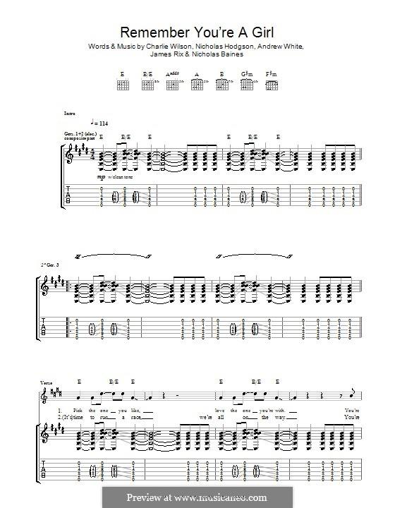 Remember You're a Girl (Kaiser Chiefs): Для гитары с табулатурой by Andrew White, James Rix, Nicholas Baines, Nicholas Hodgson, Charles Wilson