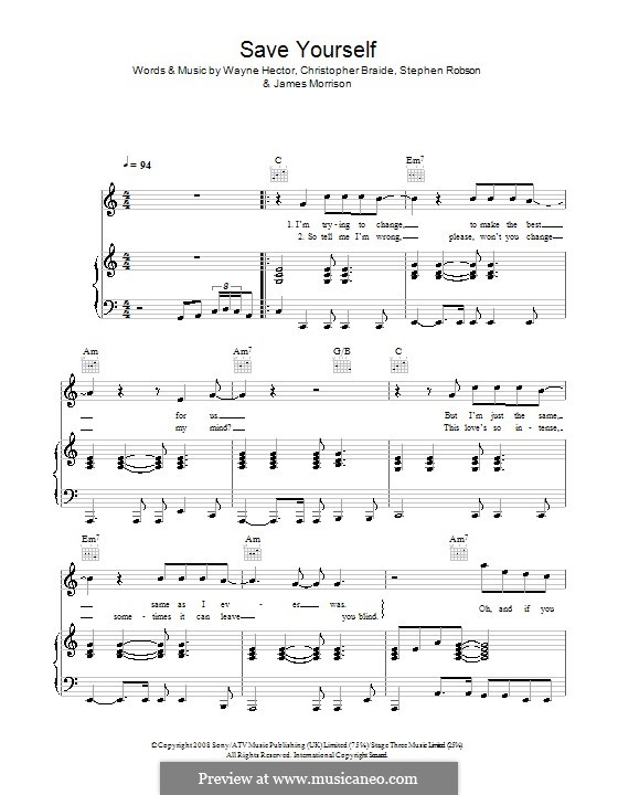 Save Yourself: Для голоса и фортепиано (или гитары) by Chris Braide, James Morrison, Steve Robson, Wayne Anthony Hector