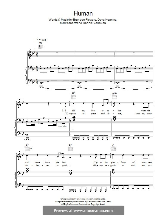 Human (The Killers): Для голоса и фортепиано или гитары by Brandon Flowers, Dave Keuning, Mark Stoermer, Ronnie Vannucci