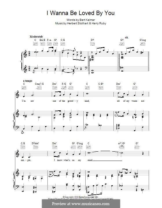 I Wanna Be Loved By You (Marilyn Monroe): Для голоса и фортепиано (или гитары) by Harry Ruby, Herbert Stothart