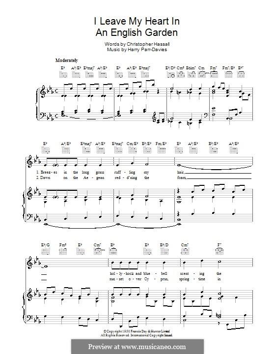 I Leave My Heart in an English Garden: Для голоса и фортепиано (или гитары) by Christopher Hassall