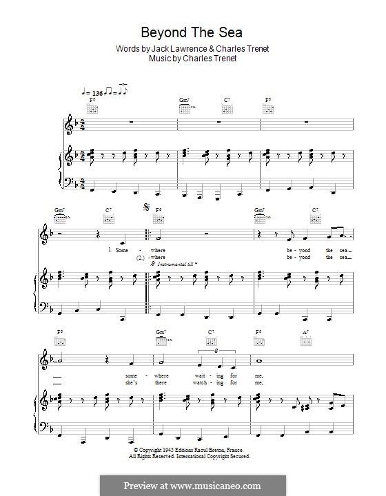 Beyond the Sea: Для голоса и фортепиано или гитары (Bobby Darin) by Albert Lasry, Charles Trenet