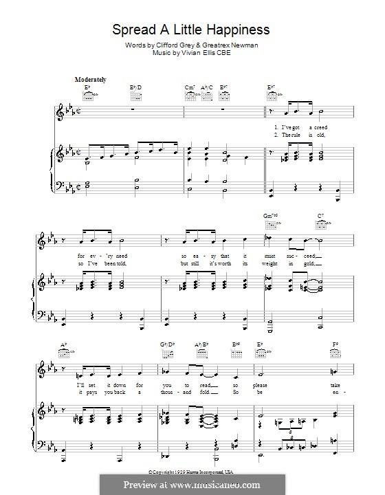 Spread A Little Happiness: Для голоса и фортепиано (или гитары) by Vivian Ellis