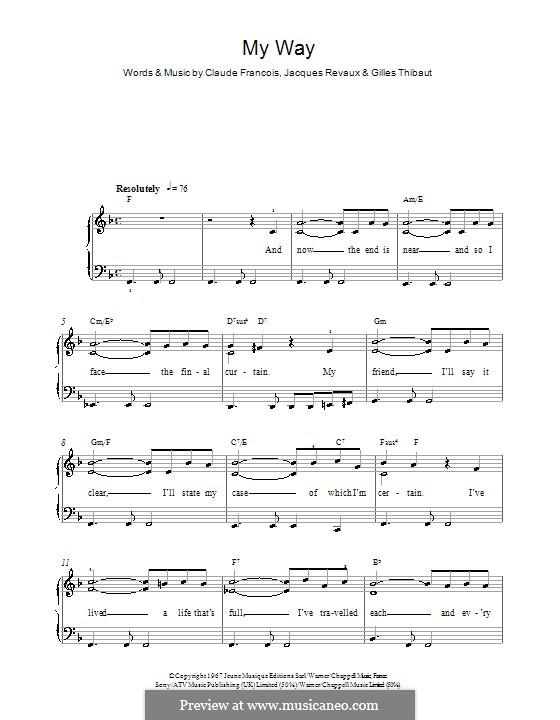 My Way: Для фортепиано (легкий уровень) (Frank Sinatra) by Claude Francois, Jacques Revaux