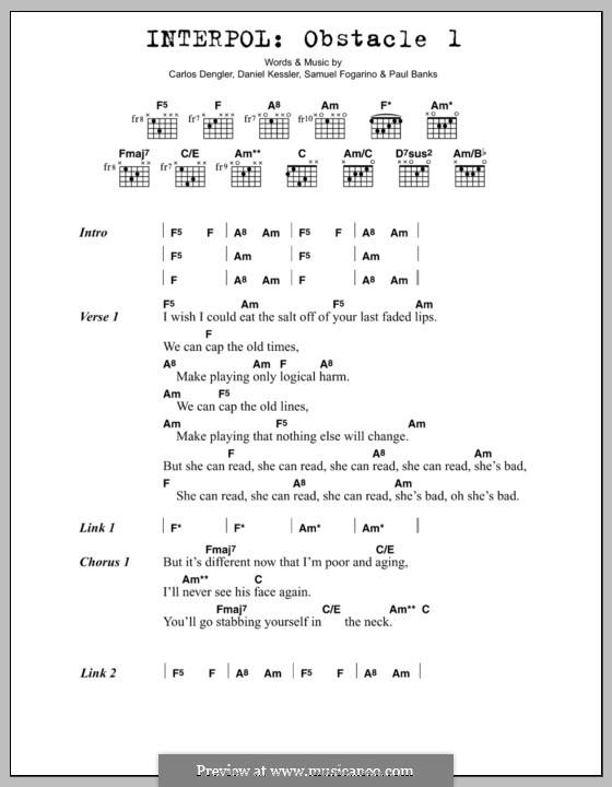 Obstacle 1 (Interpol): Текст, аккорды by Carlos Dengler, Daniel Kessler, Paul Banks, Samuel Fogarino