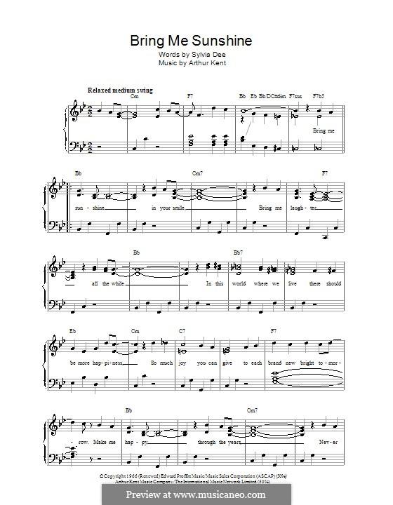 Bring Me Sunshine: Для голоса и фортепиано by Arthur Kent