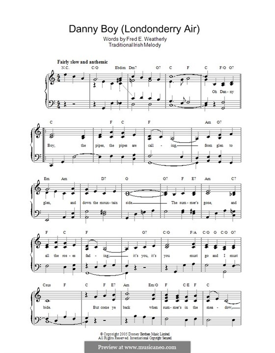 Danny Boy (Londonderry Air) Printable Scores: Для голоса и фортепиано by folklore