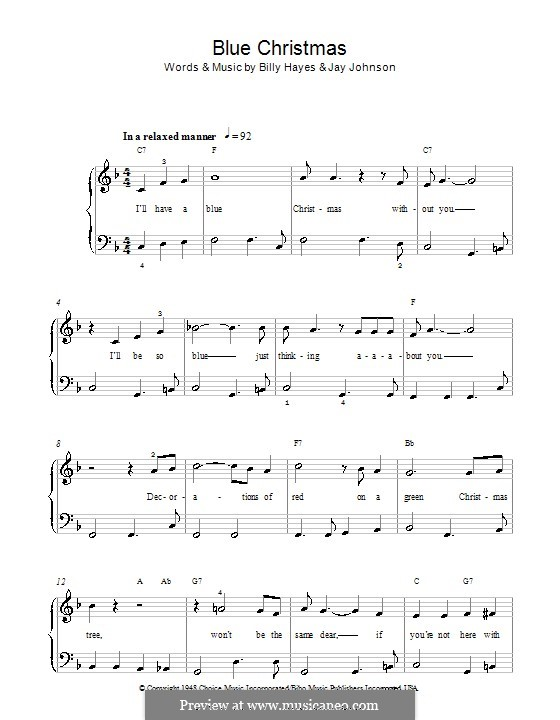 Blue Christmas, for Piano: With chords by Billy Hayes, Jay Johnson