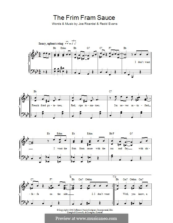 The Frim Fram Sauce: Для голоса и фортепиано (Ella  Fitzgerald) by Joe Ricardel