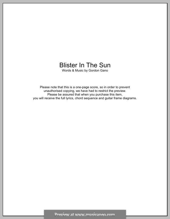 Blister in the Sun (Violent Femmes): Текст, аккорды by Gordon Gano