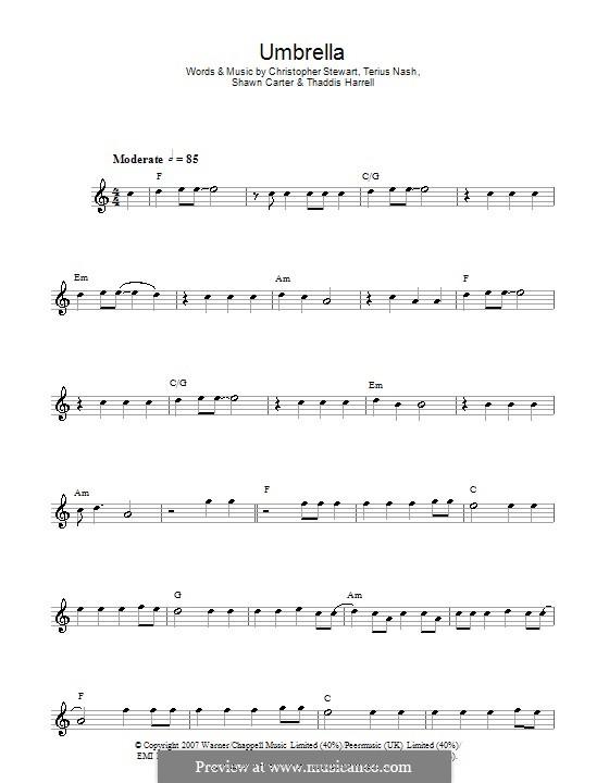 Umbrella (Rihanna featuring Jay-Z): Для флейты by Tricky Stewart , Jay-Z, Terius Nash, Kuk Harrell