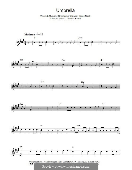 Umbrella (Rihanna featuring Jay-Z): Для саксофона by Tricky Stewart , Jay-Z, Terius Nash, Kuk Harrell