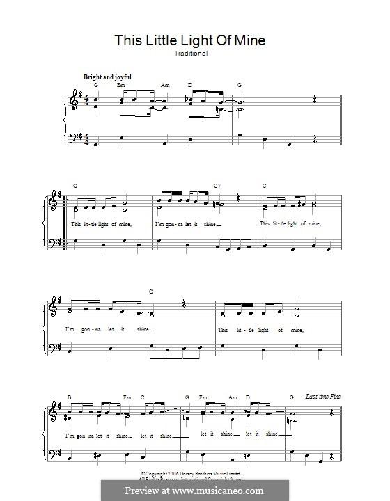 This Little Light of Mine: Для голоса и фортепиано (или гитары) by folklore