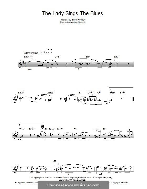 The Lady Sings the Blues (Billie Holiday): Для флейты by Herbie Nichols