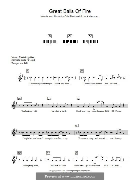 Great Balls of Fire (Jerry Lee Lewis): Для клавишного инструмента by Jack Hammer, Otis Blackwell
