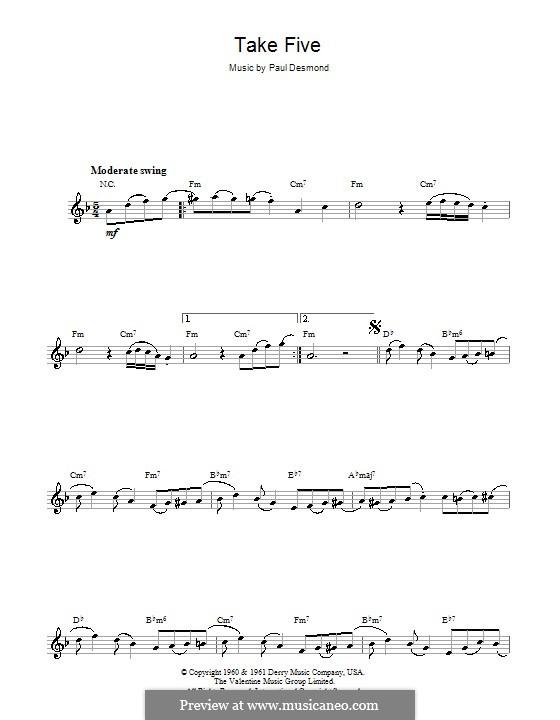 Take Five (Dave Brubeck): Для саксофона by Paul Desmond