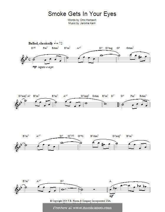 Smoke Gets in Your Eyes (from 'Roberta'): Для саксофона by Джером Керн