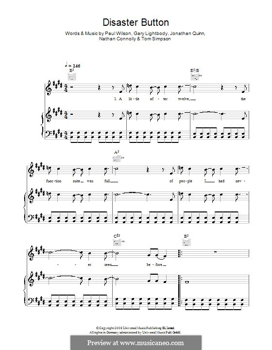 Disaster Button (Snow Patrol): Для голоса и фортепиано (или гитары) by Gary Lightbody, Jonathan Quinn, Nathan Connolly, Paul Wilson, Tom Simpson