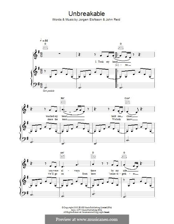 Unbreakable (Westlife): Для голоса и фортепиано (или гитары) by John Reid, Jörgen Kjell Elofsson