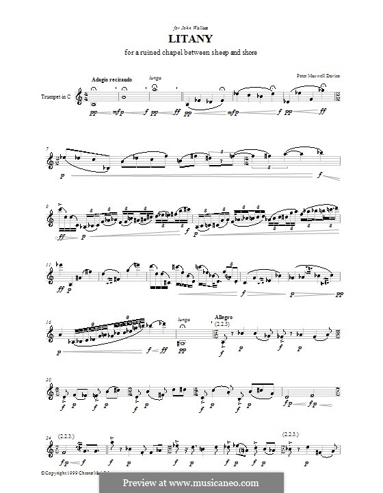 Litany for a Ruined Chapel Between Sheep and Shore: Для трубы by Peter Maxwell Davies