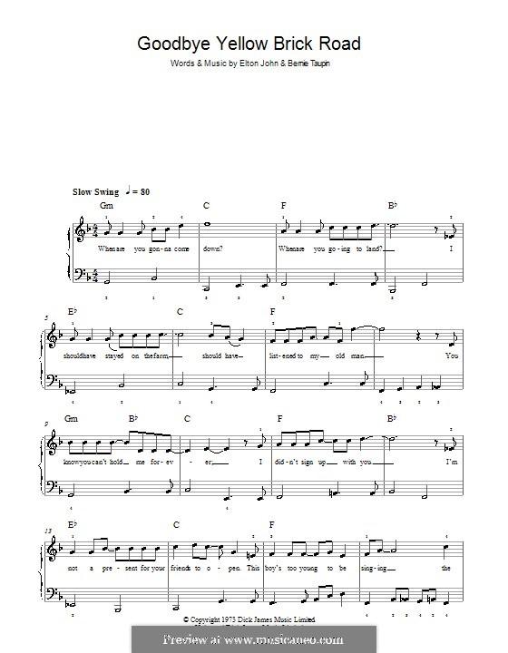 Goodbye Yellow Brick Road: Для фортепиано (легкий уровень) by Elton John