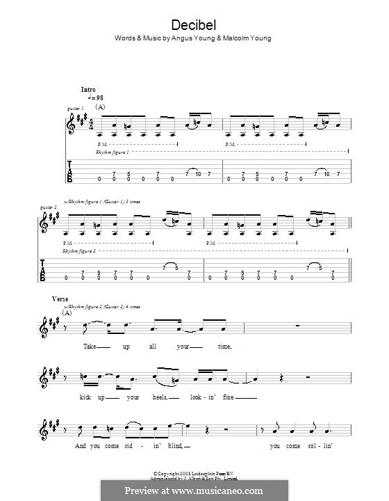 Decibel (AC/DC): Гитарная табулатура by Angus Young, Malcolm Young