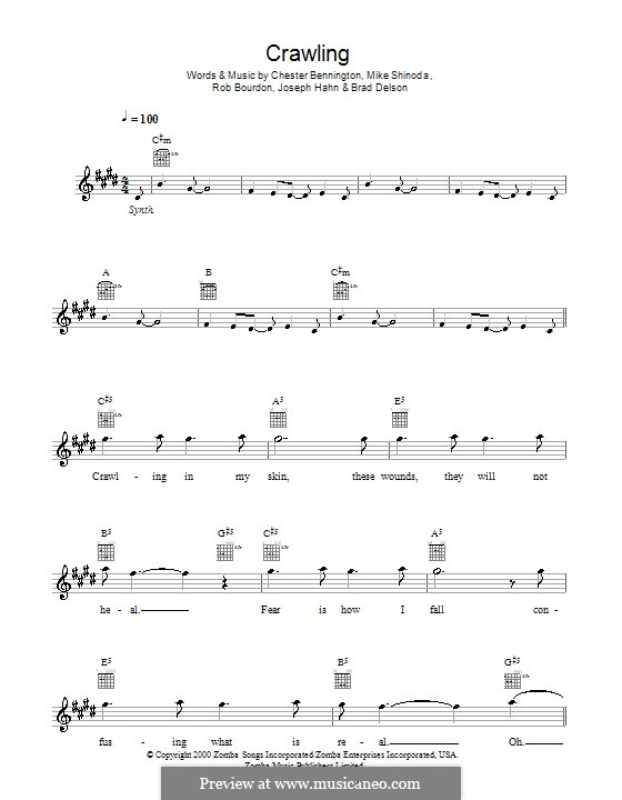 Crawling (Linkin Park): Мелодия, текст и аккорды by Brad Delson, Charles Bennington, Joseph Hahn, Mike Shinoda, Rob Bourdon