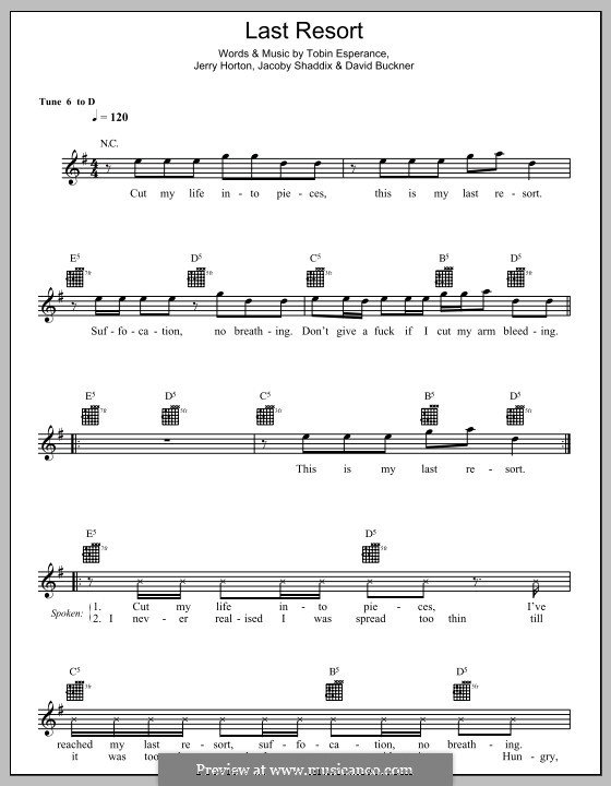 Last Resort: Мелодия, текст и аккорды by Papa Roach, David Buckner, Jacoby Shaddix, Jerry Horton, Tobin Esperance