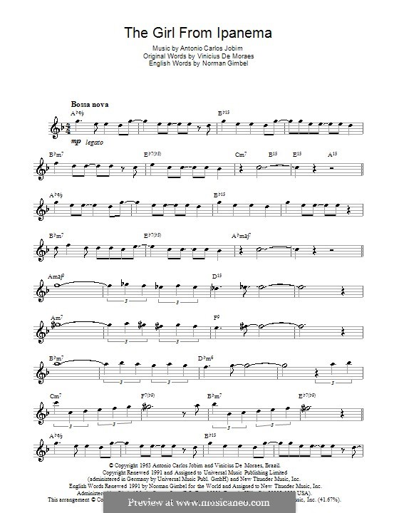 The Girl from Ipanema (Garota de Ipanema): Для саксофона by Antonio Carlos Jobim