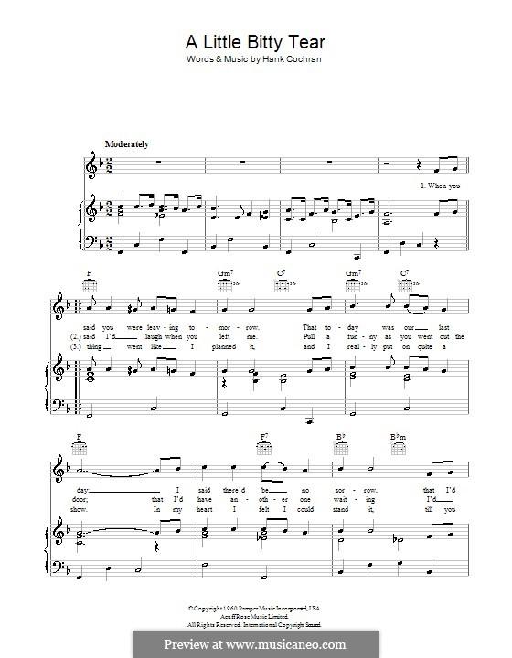 A Little Bitty Tear (Burl Ives): Для голоса и фортепиано (или гитары) by Hank Cochran