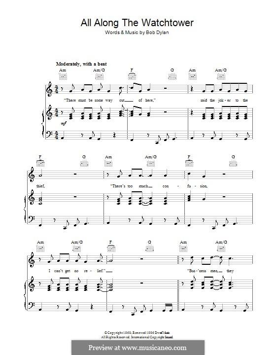 All Along the Watchtower: Для голоса и фортепиано (или гитары) by Bob Dylan