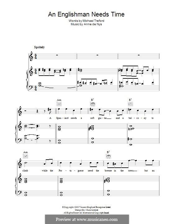 An Englishman Needs Time (Eartha Kitt): Для голоса и фортепиано (или гитары) by Anne de Nys