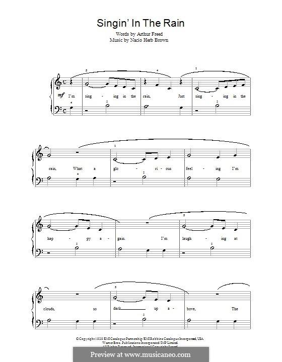 Singin' in the Rain (Gene Kelly): Для фортепиано (легкий уровень) by Nacio Herb Brown